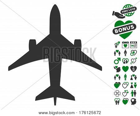 Jet Plane icon with bonus love pictures. Vector illustration style is flat iconic green and gray symbols on white background.