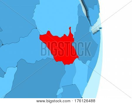South Sudan On Blue Political Globe