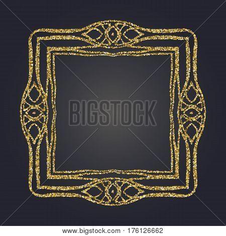 Art Nouveau gold glitter elegant smooth lines decorative rectangle vector frame for design. Art Deco style fine border ornament