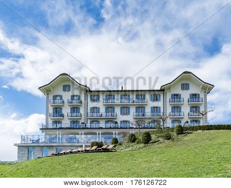 LAKE LUCERNE SWITZERLAND - MARCH 03 2017: Buergenstock mountain Resort with Hotel Honegg at Lake Lucerne Switzerland.