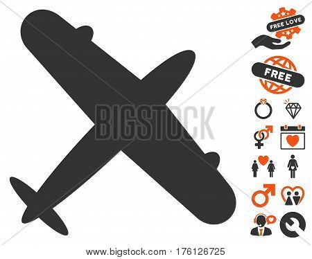 Aeroplane pictograph with bonus love pictograms. Vector illustration style is flat iconic orange and gray symbols on white background.