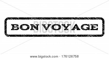 Bon Voyage watermark stamp. Text tag inside rounded rectangle frame with grunge design style. Rubber seal stamp with dirty texture. Vector black ink imprint on a white background.