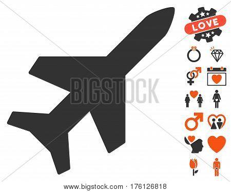 Aeroplane icon with bonus lovely graphic icons. Vector illustration style is flat iconic orange and gray symbols on white background.
