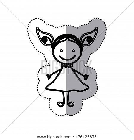 sticker sketch silhouette caricature girl with dress vector illustration