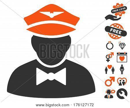Airline Steward pictograph with bonus valentine design elements. Vector illustration style is flat iconic orange and gray symbols on white background.