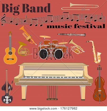 Vector set of jazz band musical instruments. Big band music festival template. Grand piano drum kit guitar clarinet sax french horn trumpet trombone and double bass treble clef in flat style