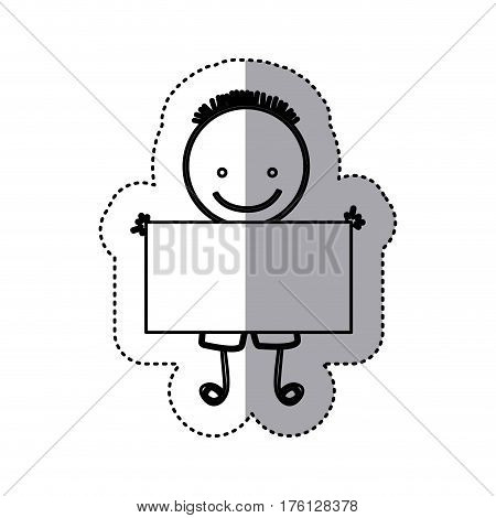 sticker sketch silhouette caricature boy with hairstyle and banner vector illustration