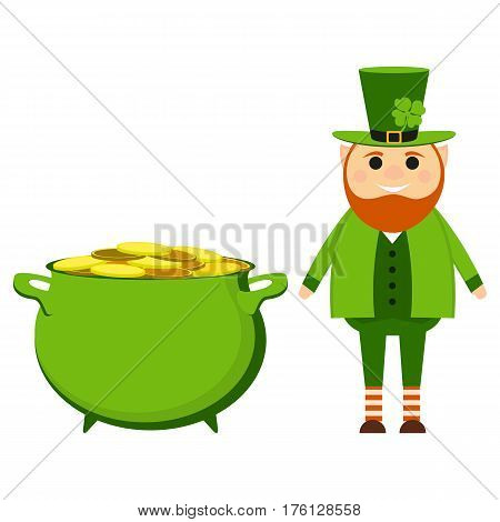 Cartoon leprechaun on St. patrick s day with a pot of gold coins vector
