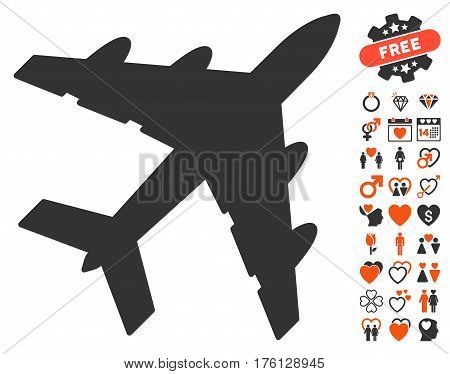 Bomber pictograph with bonus dating clip art. Vector illustration style is flat iconic orange and gray symbols on white background.