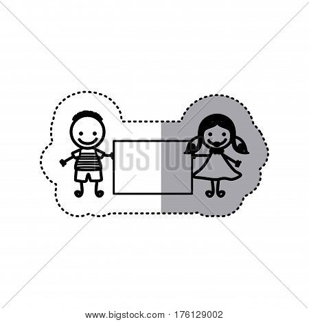 sticker sketch silhouette caricature couple boy with hairstyle and girl with hair pigtails with banner vector illustration