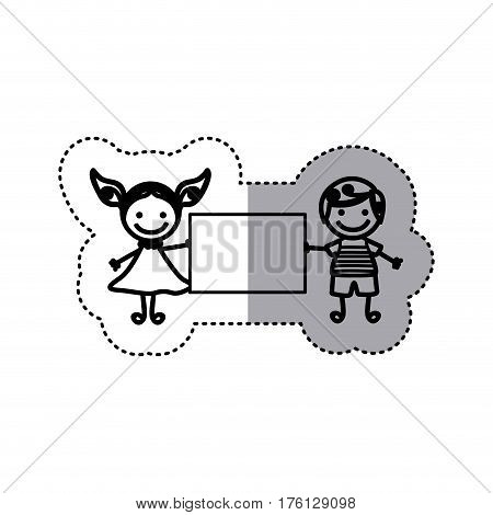 sticker sketch silhouette caricature couple boy with curly hair and girl with dress and banner vector illustration