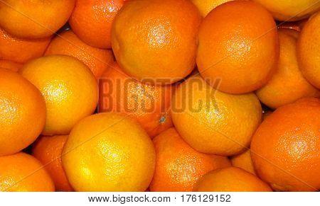 Many orange light mandarins on the box