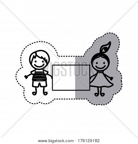 sticker sketch silhouette caricature couple boy and girl with hair tail and banner vector illustration