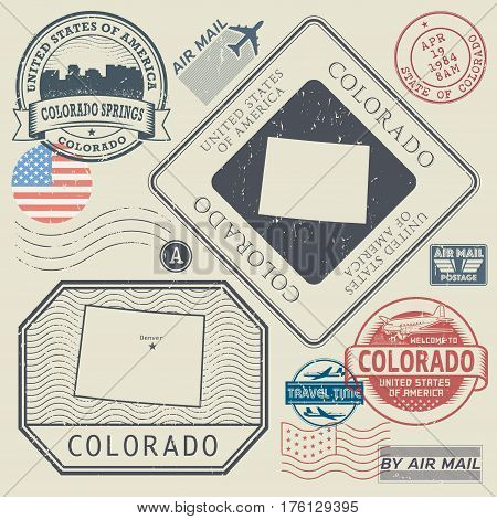 Retro vintage postage stamps set Colorado United States theme vector illustration