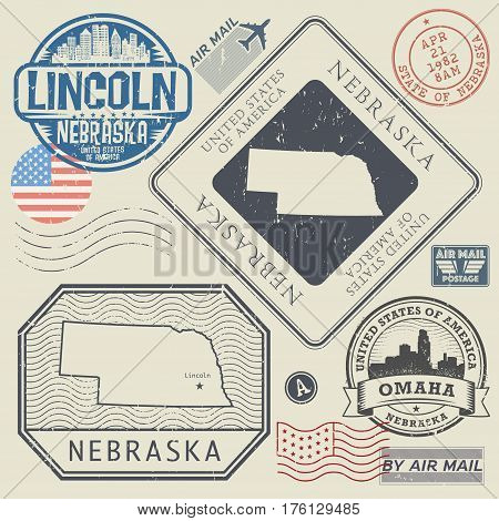 Retro vintage postage stamps set Nebraska United States theme vector illustration