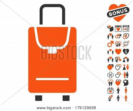Carryon pictograph with bonus dating pictograms. Vector illustration style is flat iconic orange and gray symbols on white background.
