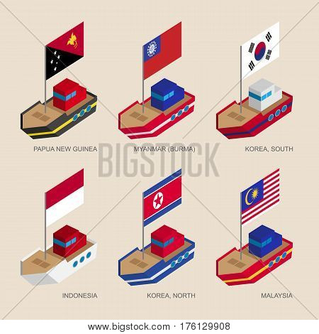Isometric Ships With Flags: Papua, Myanmar, Korea, Indonesia, Malaysia