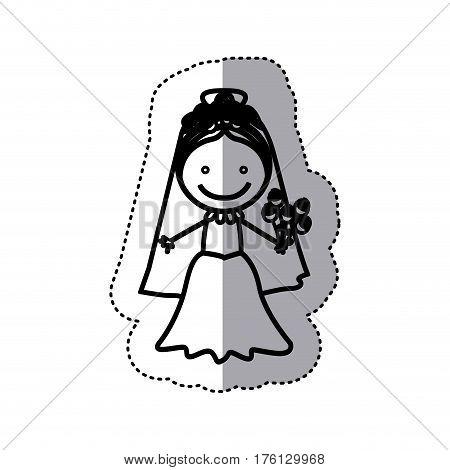 sticker sketch silhouette caricature woman with costume bride icon vector illustration