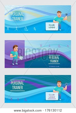 Fitness banners or flyers set with personal trainer.Vector illustration with cartoon character.