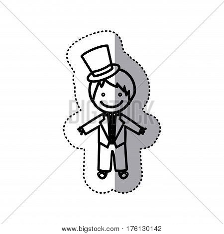 sticker sketch silhouette caricature man with costume wedding icon vector illustration