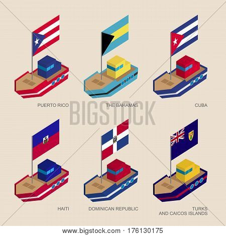 Isometric Ships With Flags: Cuba, Dominican Republic, Haiti, Bahamas, Puerto Rico