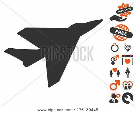 Intercepter pictograph with bonus love pictures. Vector illustration style is flat iconic orange and gray symbols on white background.