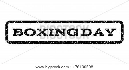 Boxing Day watermark stamp. Text tag inside rounded rectangle frame with grunge design style. Rubber seal stamp with unclean texture. Vector black ink imprint on a white background.