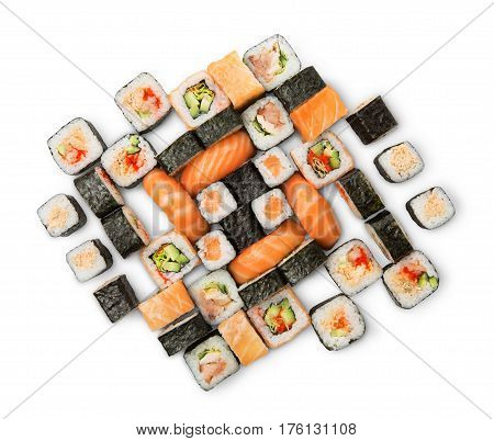 Sushi platter isolated on white background. Japanese food restaurant delivery - maki, salmon, philadelphia and california rolls big party set, top view