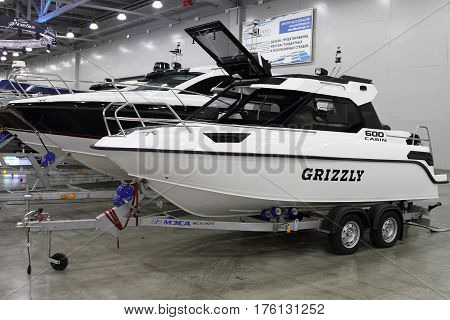 MOSCOW - MARCH 09 2017: Boat Grizzly 600 cabin for 10 International boat show in Moscow. Russia.