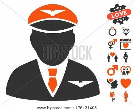 Pilot pictograph with bonus dating pictograms. Vector illustration style is flat iconic orange and gray symbols on white background.