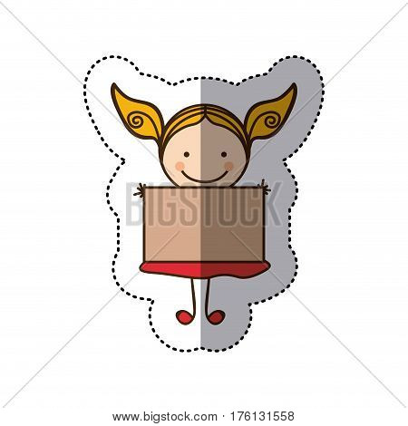 sticker colorful caricature girl with dress and placard vector illustration