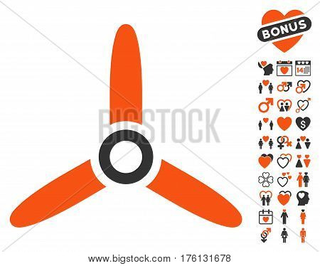 Three Bladed Screw icon with bonus love graphic icons. Vector illustration style is flat iconic orange and gray symbols on white background.