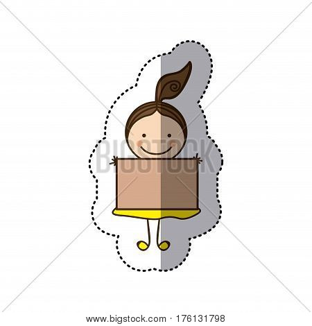 sticker colorful caricature girl with hair tail and banner vector illustration