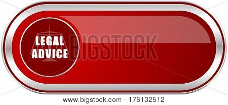 Legal advice red long glossy silver metallic banner. Modern design web icon for smartphone applications