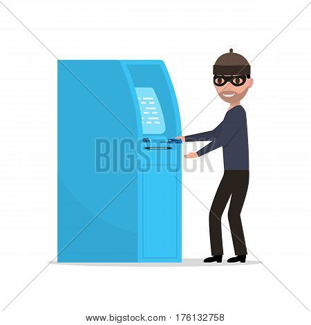 Vector illustration of a thief robber trying to steal money from an ATM. Isolated white background. Flat design. A man in a mask steals money from a plastic card.