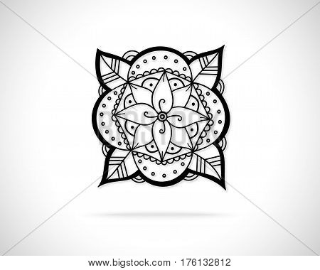 Creative Flower Concept Icon. Abstract Eco Logo Design Template. Emblem from Black Hand Drawn Lines.