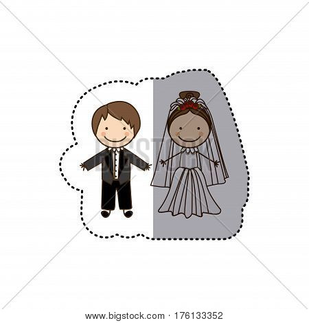 sticker colorful caricature married couple vector illustration