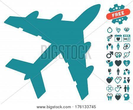 Bomber pictograph with bonus valentine images. Vector illustration style is flat iconic soft blue symbols on white background.