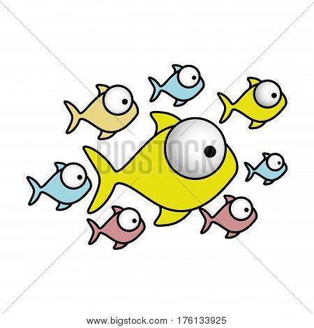 colorful set collection fish aquatic animal vector illustration