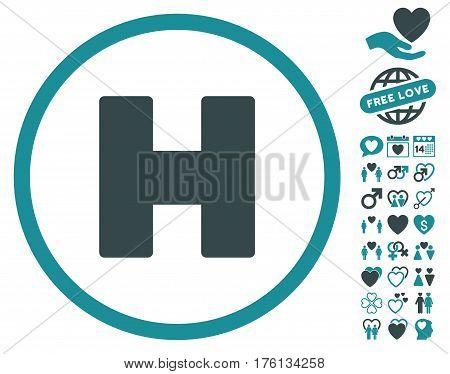 Helicopter Landing icon with bonus dating icon set. Vector illustration style is flat iconic soft blue symbols on white background.