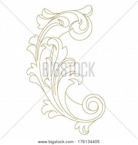 Golden vintage baroque ornament, corner. Retro pattern antique style acanthus. Decorative design element filigree calligraphy vector. - stock vector