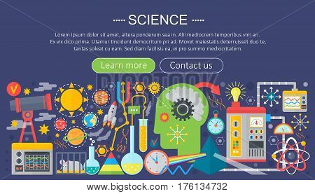 Flat design concept of science. Horizontal banner with scientist workplaces. Scientific research experiment infographics template design, web header icons elements.Vector illustration