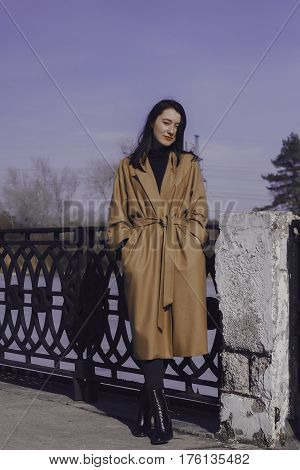 stylish young woman out for a walk. she dressed and looks very fashionable. coat of beige (camel) color and black turtleneck. beautiful woman.