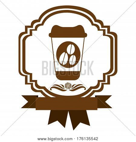brown border heraldic decorative ribbon with glass disposable for hot drinks with lid vector illustration