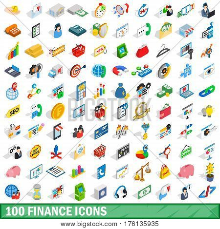 100 finance icons set in isometric 3d style for any design vector illustration