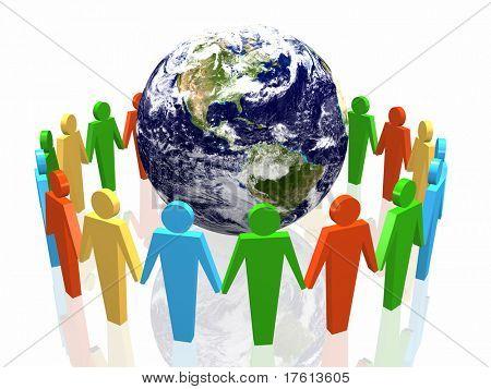 world partnership 3d illustration isolated in white background