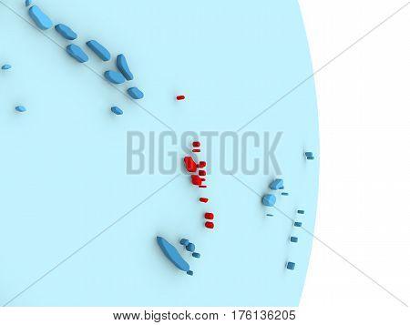 Vanuatu On Blue Political Globe