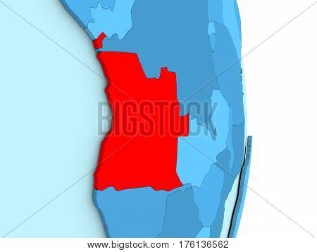 Angola On Blue Political Globe