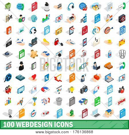 100 webdesign icons set in isometric 3d style for any design vector illustration