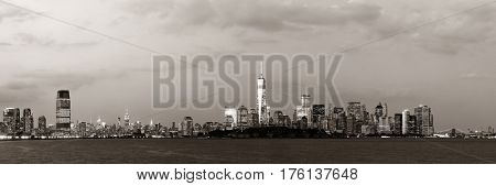 New York City downtown skyline panorama in BW at dusk